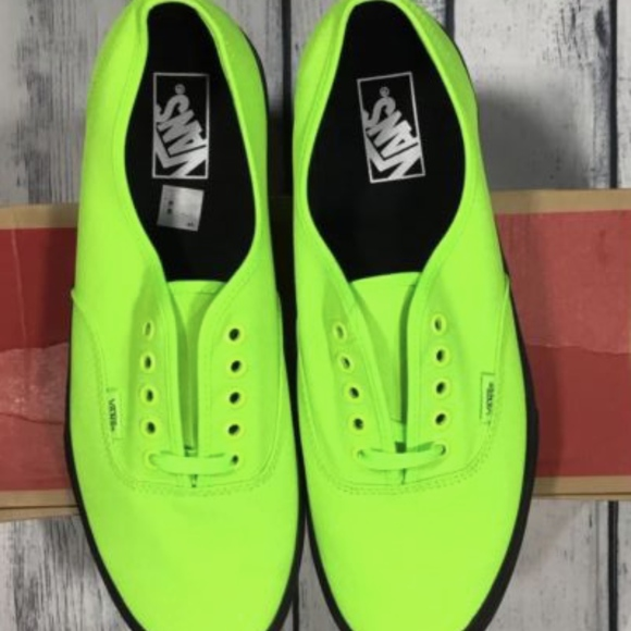 6ce8094459 Vans Authentic Black Outsole Neon Green Men 11.5